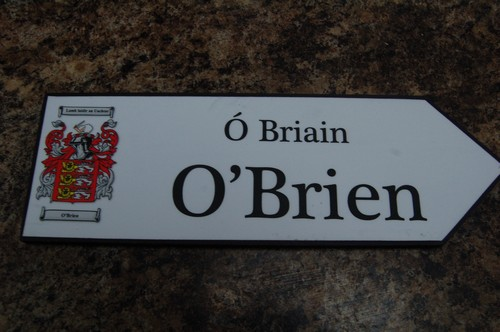 Irish Family Name Wood Road Signs Obrien Coat Of Arms On