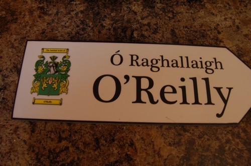 Irish Family Name Wood Road Signs - OREILLY Coat of Arms