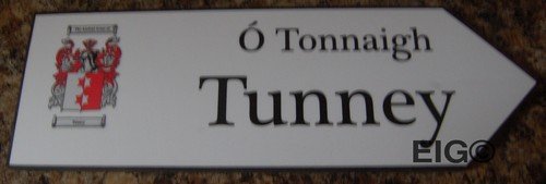 TUNNEY Coat of Arms on Wooden Sign