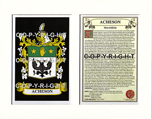 Acheson Family Crest and Name History