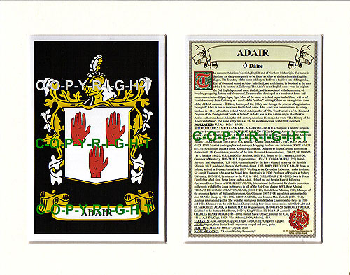 Adair Family Crest and Name History