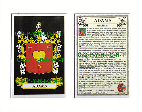 Adams Family Crest and Name History
