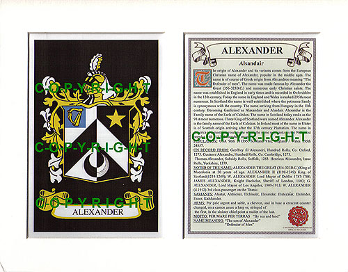 Alexander Family Crest and Name History