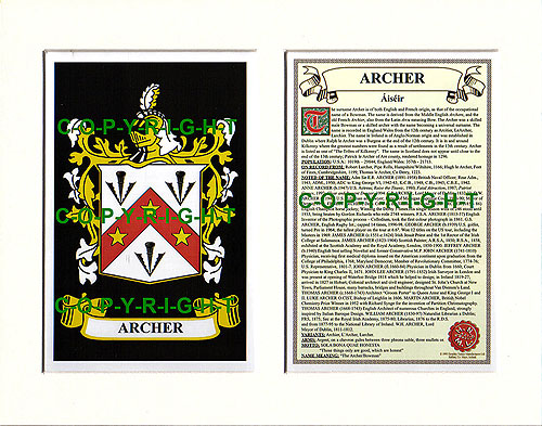 Archer Family Crest and Name History