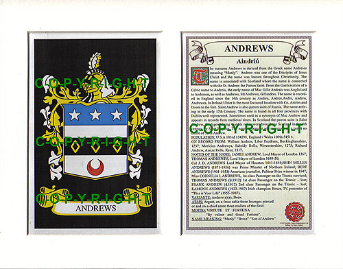 Andrews Family Crest and Name History