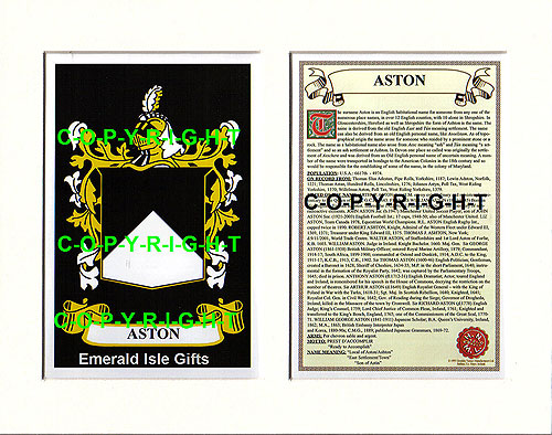 Aston Family Crest and Name History