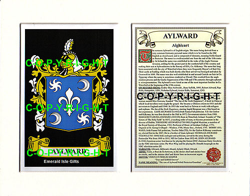 Aylward Family Crest and Name History