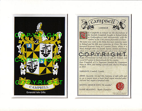 Heraldic Mounts - Campbell Family Crest and History
