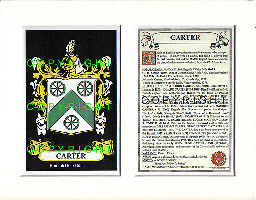 Heraldic Mounts Carter Family Crest And History