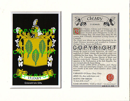 Cleary Family Crest and Name History