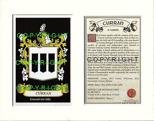Heraldic Mounts Curran Family Crest And History