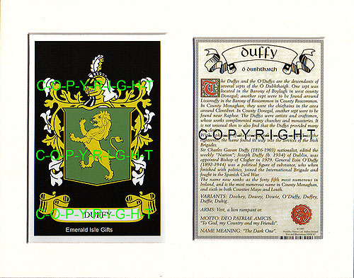 Family Crest For Duffy