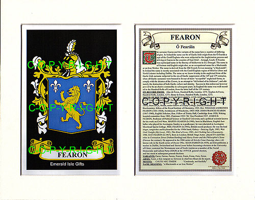 Fearon Family Crest and Name History