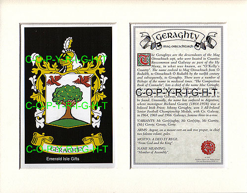 Heraldic Mounts Geraghty Family Crest And History