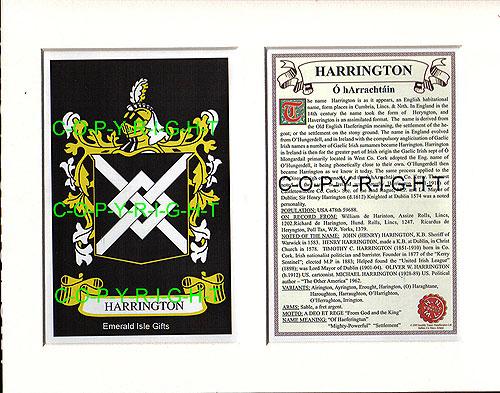 Heraldic Mounts Harrington Family Crest And History