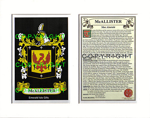 Select Gifts Mccallister Scotland Family Crest Coat Of Arms Cufflinks Personalised Case