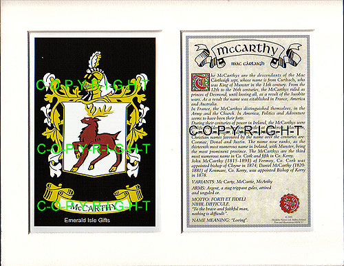 McCarthy Family Crest and Name History