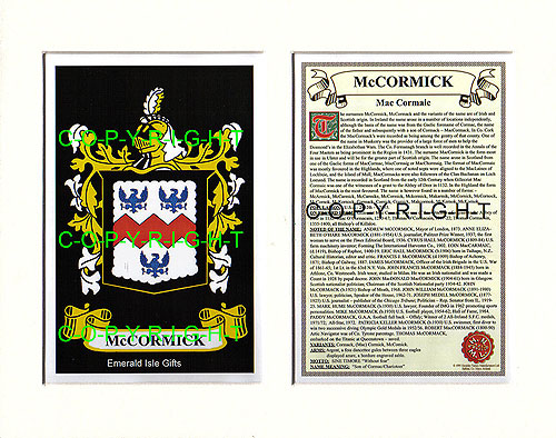 McCormick Family Crest and Name History