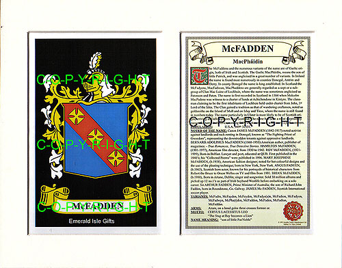 Heraldic Mounts McFadden Family Crest And History