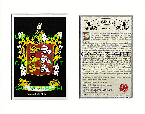 Heraldic Mounts O Brien Family Crest And History