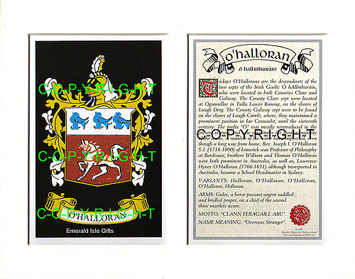 Heraldic Mounts OHalloran Family Crest And History