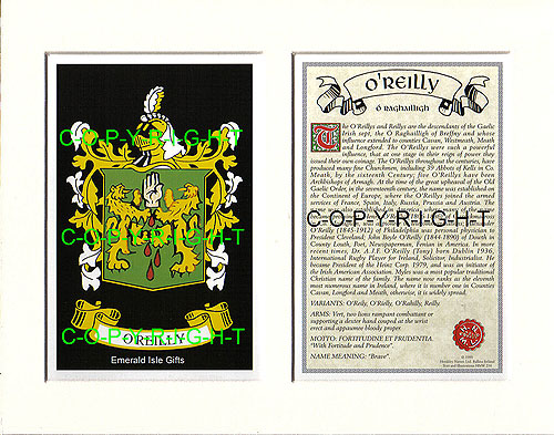 Heraldic Mounts O Reilly Family Crest And History