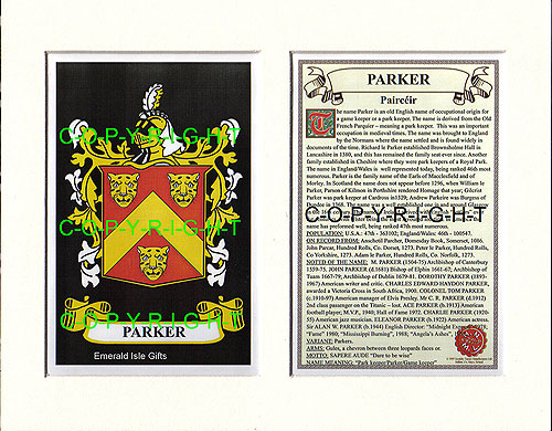 Parker Family Crest and Name History