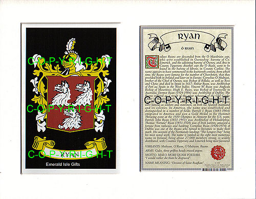Heraldic Mounts Ryan Family Crest And History