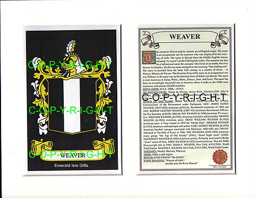 Heraldic Mounts Weaver Family Crest And History
