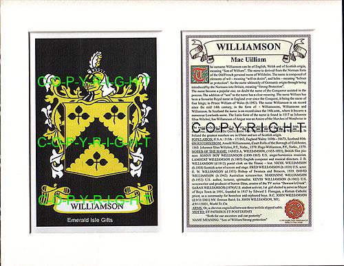 Heraldic Mounts Williamson Family Crest And History