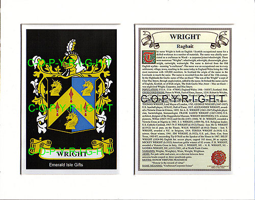 Wright Family Crest and Name History