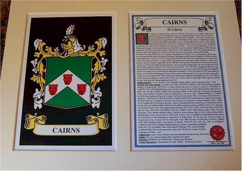 Cairns Family Crest and Name History