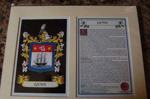 Gunn Family Crest and Name History