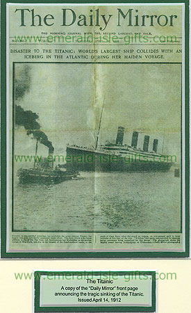 Sinking Of The Titanic 1912 (Daily Mirror Front Page)