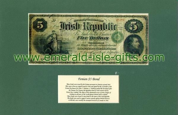 1865 US$5 Dollar Fenian Bond (Mounted Reproduction)