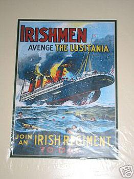 """""""""""""""Avenge the Lusitania"""""""" WW1 Poster"""" (WW1 Recruitment Poster)"""