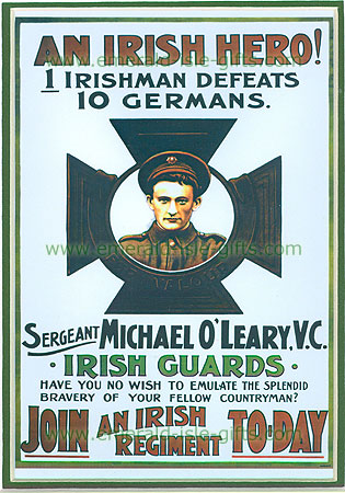 """""""An Irish Hero"""" WW1 poster"" (WW1 Recruitment Poster)"