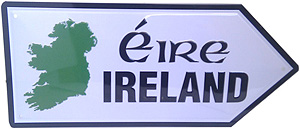 """Ireland 3000 Miles Embossed Metal Road sign (Mini sign measuriing 10.4""""inches x 4.5"""" inches)"""
