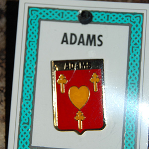 Adams Pin Lapel Clip Badge - Coat of Arms