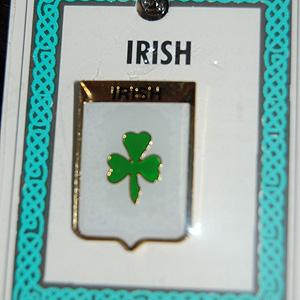 Irish Green Shamrock Pin Lapel Clip Badge (Luck o
