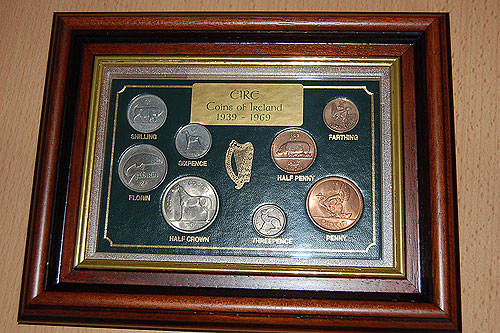 Framed 8 Coin Set Irish Coins 1939 - 1969