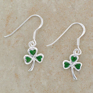 Green Shamrock Silver Earrings