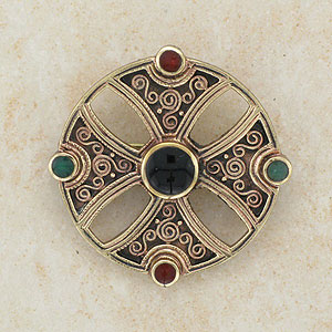 Multi Stone Celtic Bronze Brooch