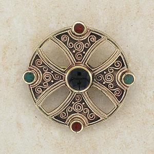 Multi Stone Celtic Bronze Brooch (carnelian onyx, agate)