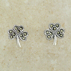 Marcasite Shamrock Stud Earrings