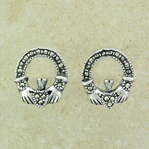 Marcasite Claddagh Studs Earrings