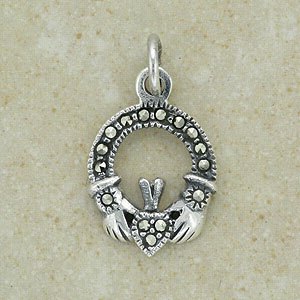 Claddagh Marcasite Silver Pendant