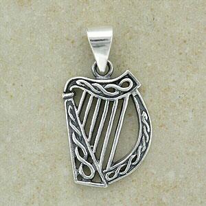 Celtic Harp Silver Pendant (.925 sterling silver)