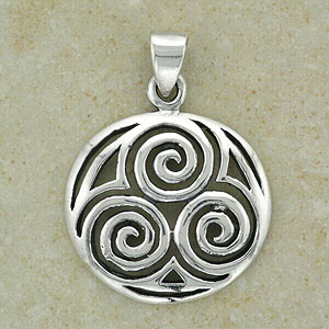 Celtic Spirals Silver Pendant (Triple pattern)