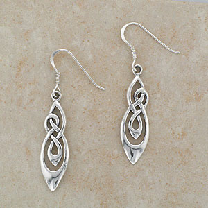Double Knot Irish Silver Celtic Earrings